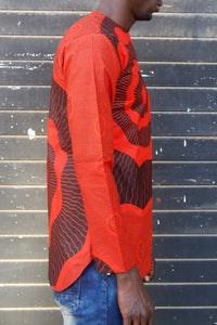 LAST SALE! African wax tunic (Rouge) No.T001