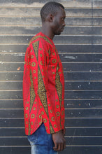 LAST SALE! African wax tunic (Rouge Ouganda) No.T002