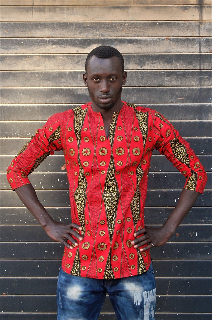 Ready to wear! African wax tunic (Rouge Ouganda) No.T002
