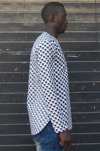 Ready to wear! African wax tunic (Dot, Black x white) No.T004