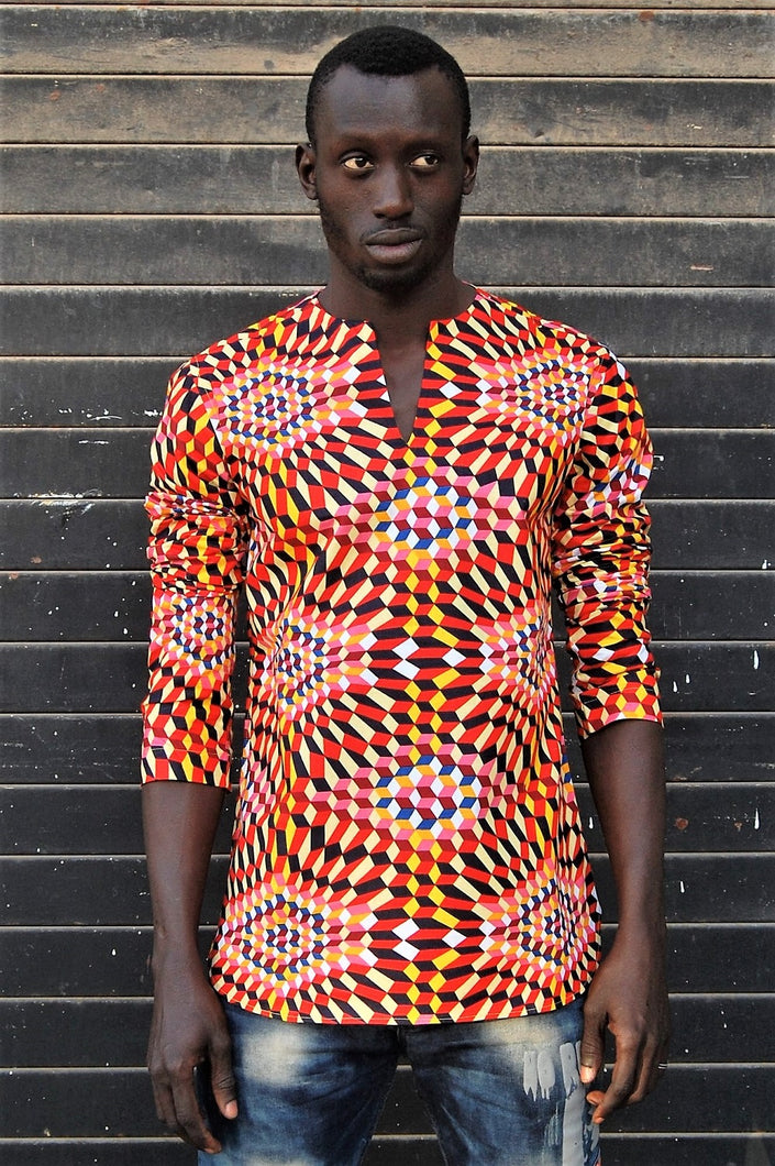 LAST SALE! African wax tunic (Multi geo, Pink) No.T009