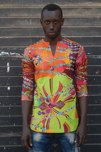 Ready to wear! African wax tunic (Amazing map violet) No.T006