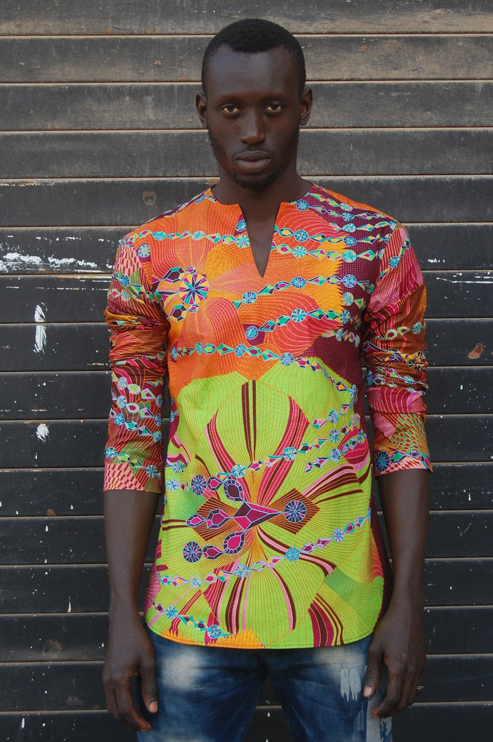 LAST SALE! African wax tunic (Amazing map violet) No.T006