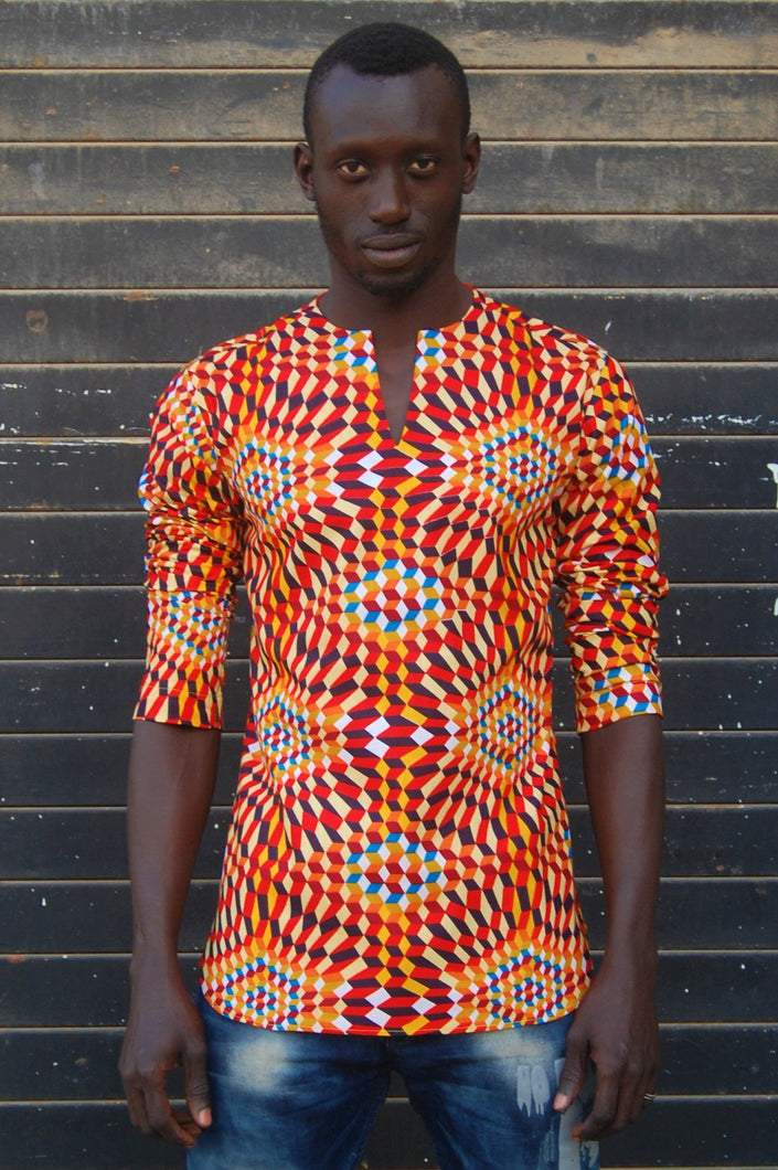 Ready to wear! African wax tunic (Multi geo, Orange) No.T008
