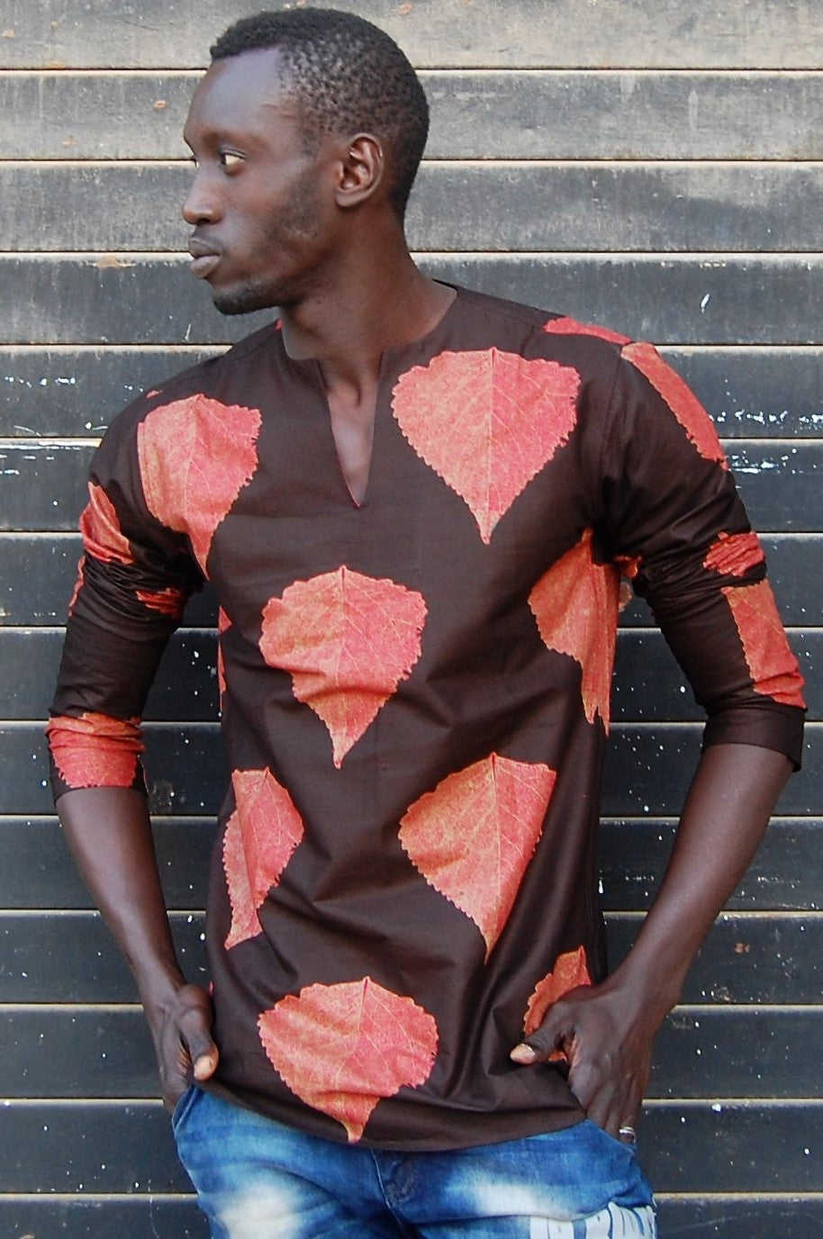 LAST SALE! African wax tunic (Fall leaves) No.T003
