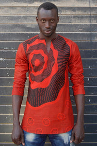 Ready to wear! African wax tunic (Rouge) No.T001