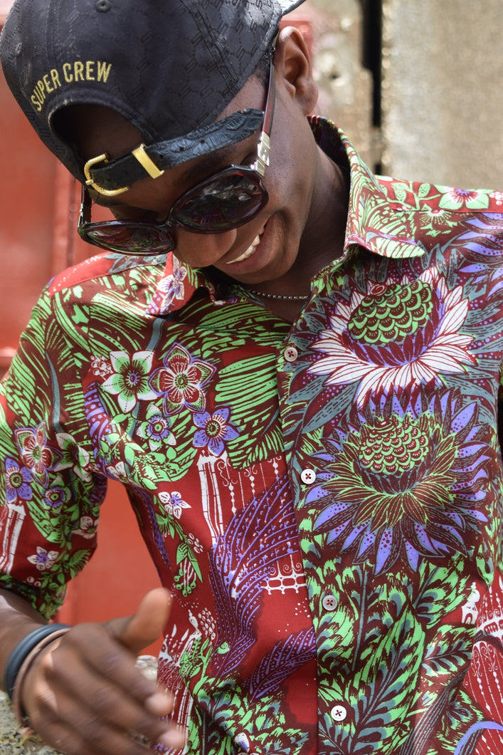 ASIAN FIT / African wax dress shirt (Red Floral), CH0001