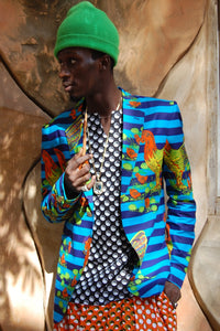 SALE! African wax jacket, Neon cock, J0001