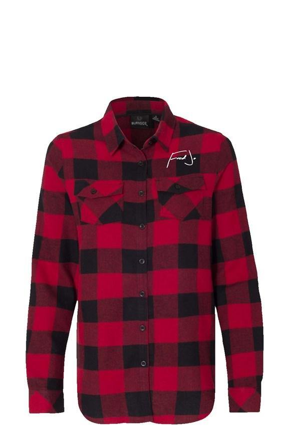 Fred Jo Womens Long Sleeve Red Flannel - Fred jo Clothing
