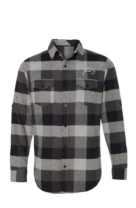 Fred Jo Long Sleeve Flannel Grey And Black - Fred jo Clothing
