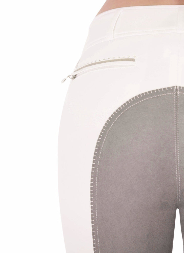 Elena Bright White & Silver Piping (with belt loops) - Mastermind Equestrian