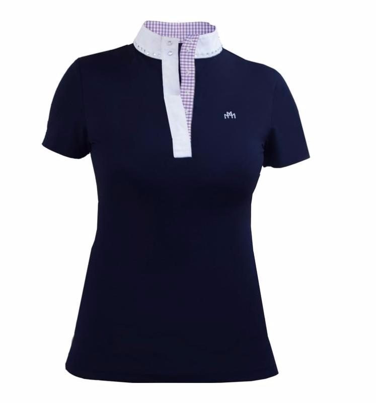 Jill Modern Polo Navy & Lavender Gingham Check - Mastermind Equestrian