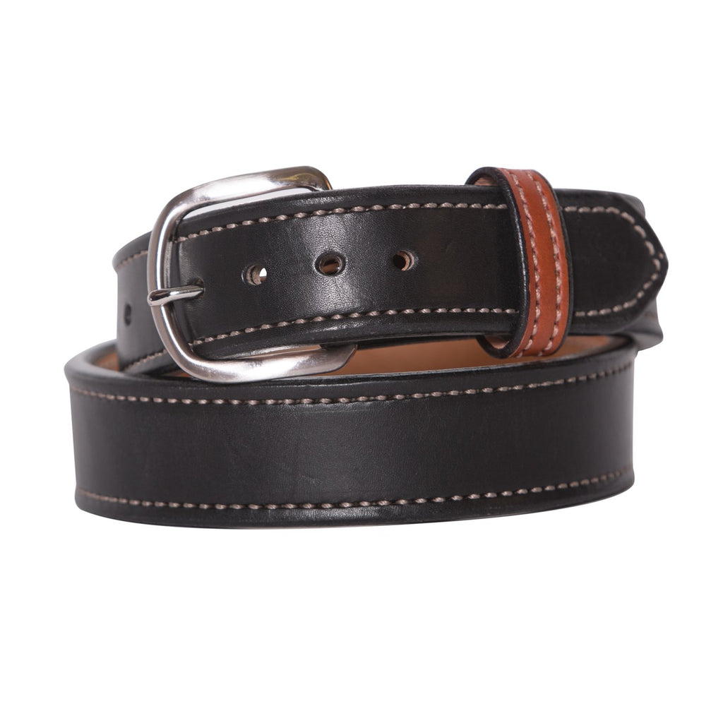 Black and Chrome Matte Leather Belt