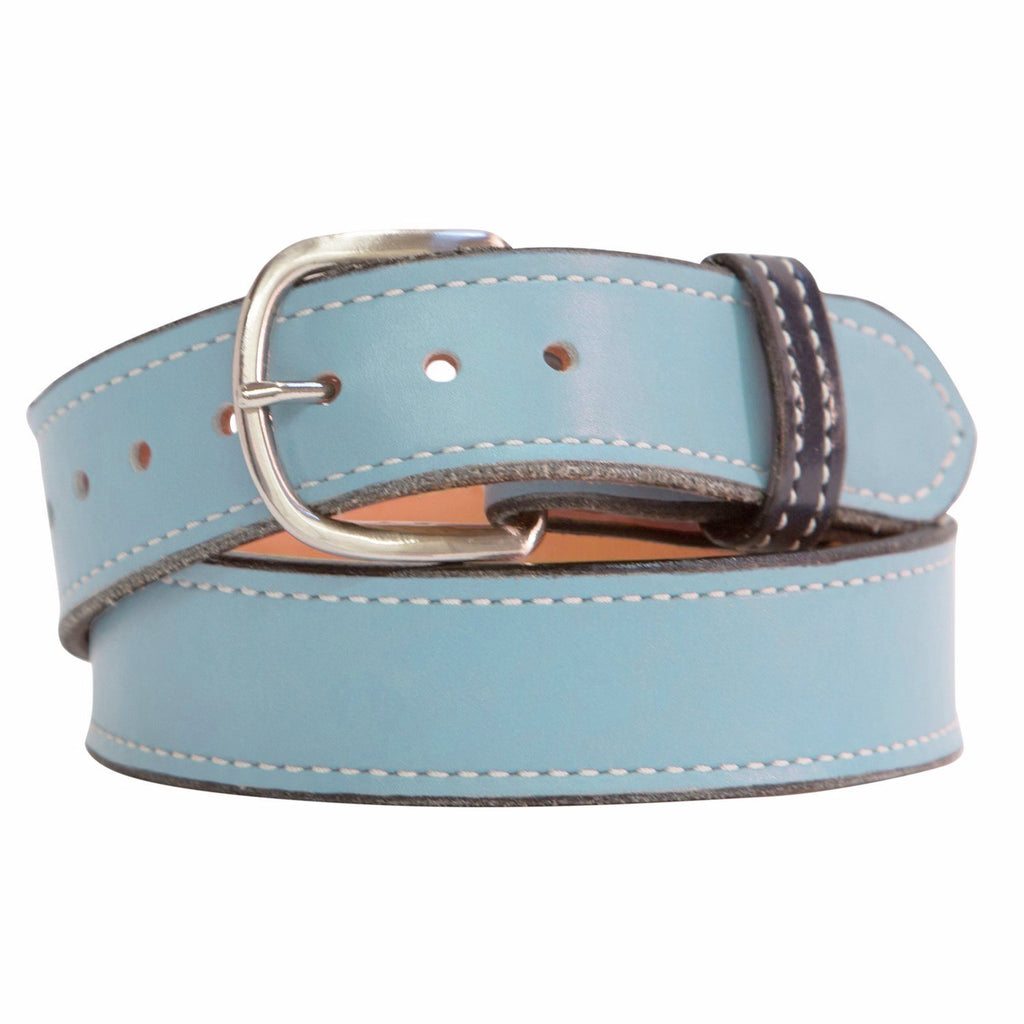 Sky Blue and Chrome Leather Belt