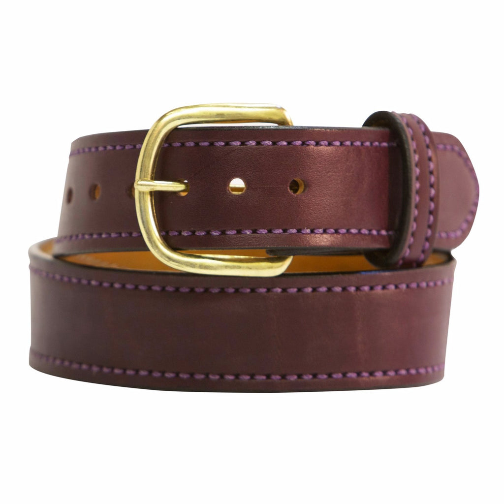Eggplant and Gold Matte Leather Belt - Mastermind Equestrian