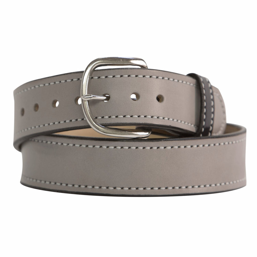 Silver Gray and Chrome Matte Leather Belt