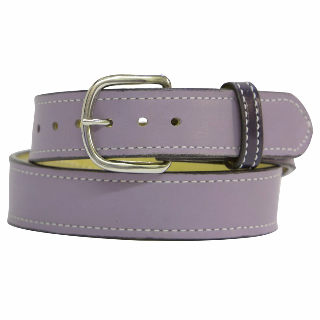 Lavender and Chrome Matte Leather Belt