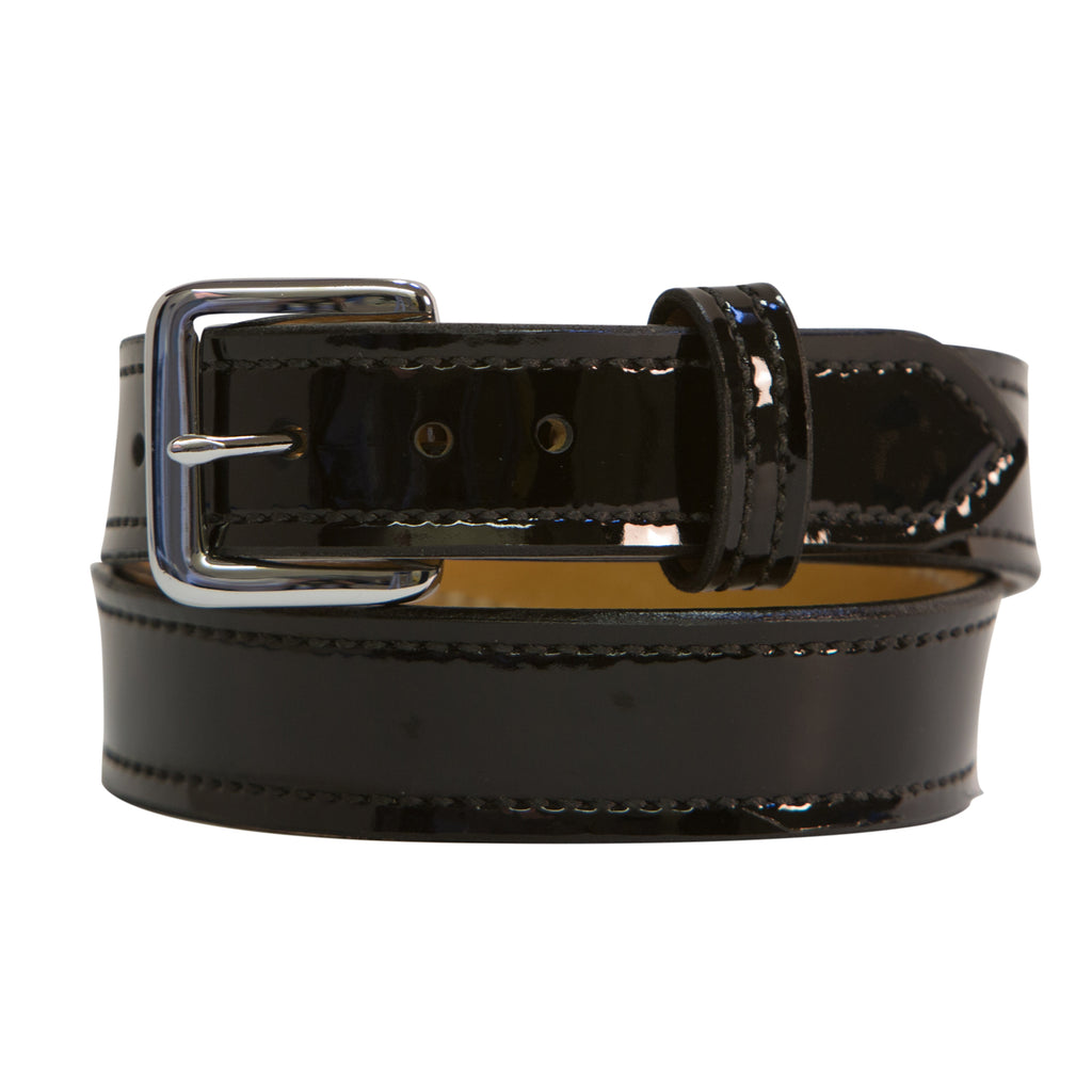 Black Patent and Chrome Leather Belt