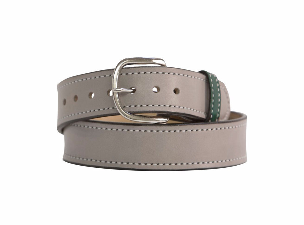 Silver Gray & Spruce Green Chrome Matte Leather Belt - Mastermind Equestrian