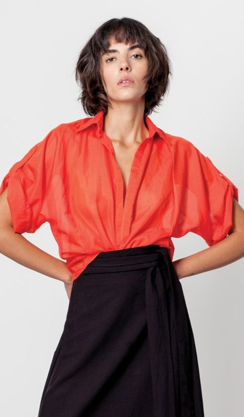 Voile cropped shirt Red