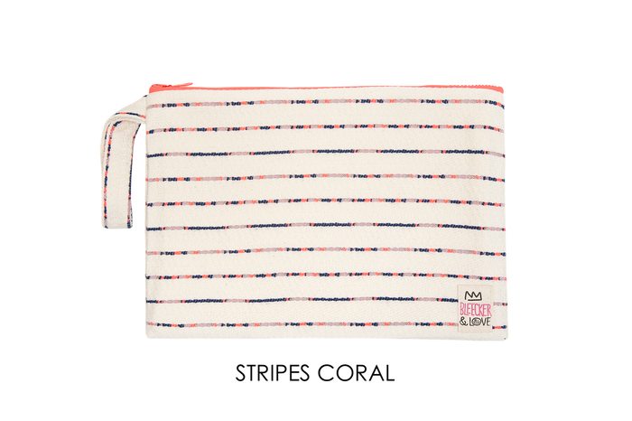 Pouch Stripes Coral