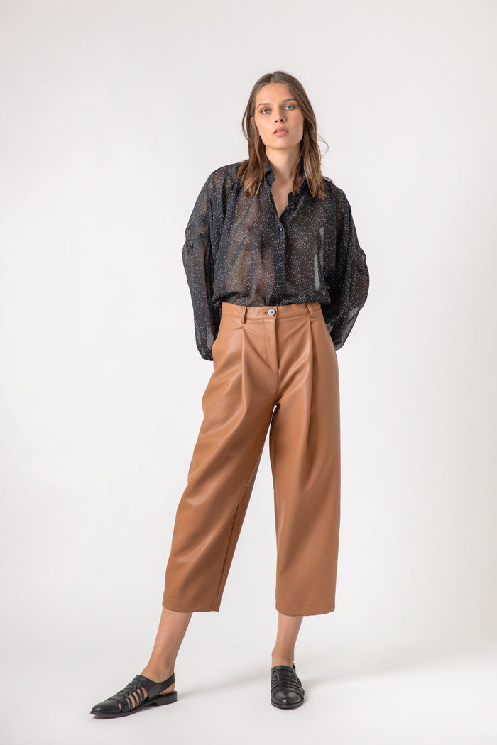 La Mañana leather tan pants