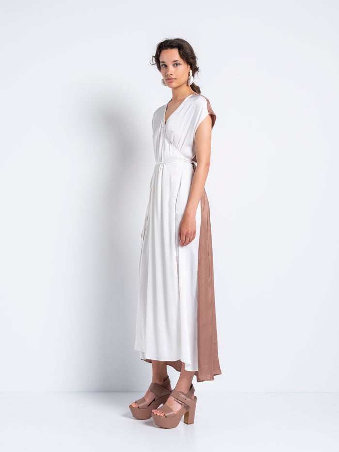 Gentle Fluidity – Crossed Dress (White and Clay)