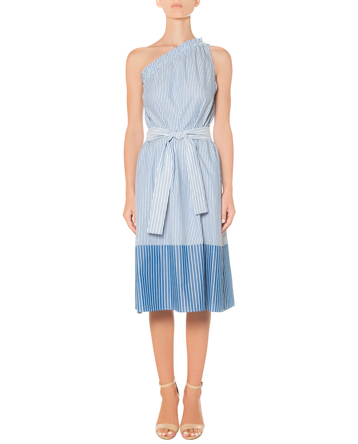 Blue stripes One-shoulder dress