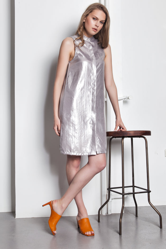 Silver foil Shirtdress