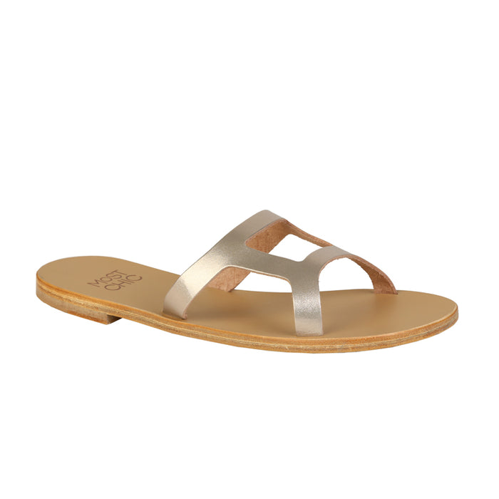 Lotus metallic leather sandals