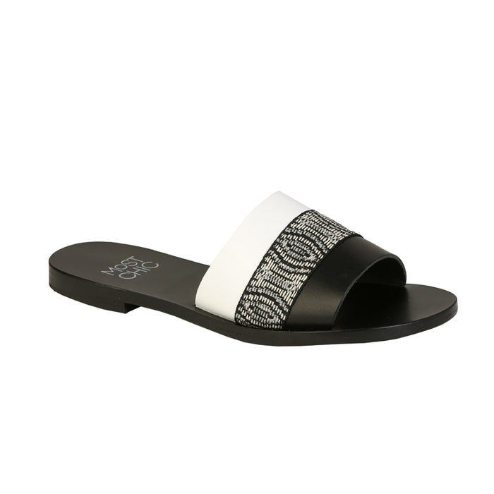 Cedar black and white leather sandals