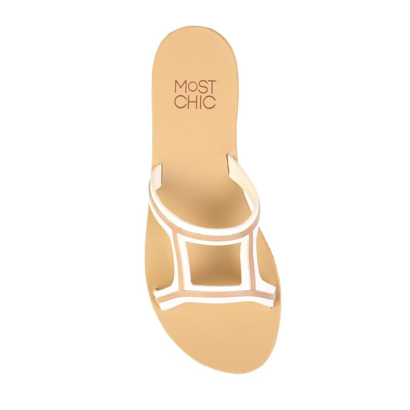 New Lotus white with dessert leather sandals
