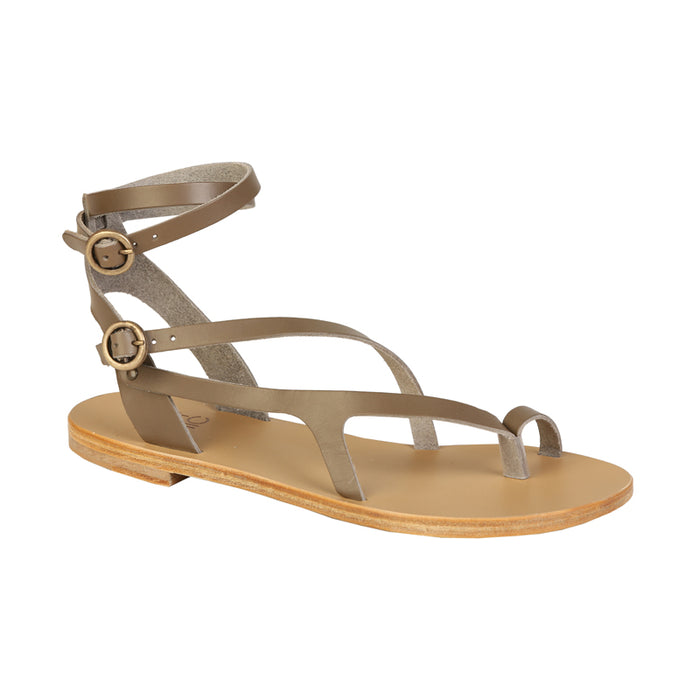 Nymphea grey leather sandals