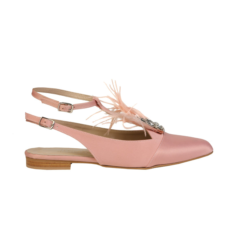 Pink Flats with feathers