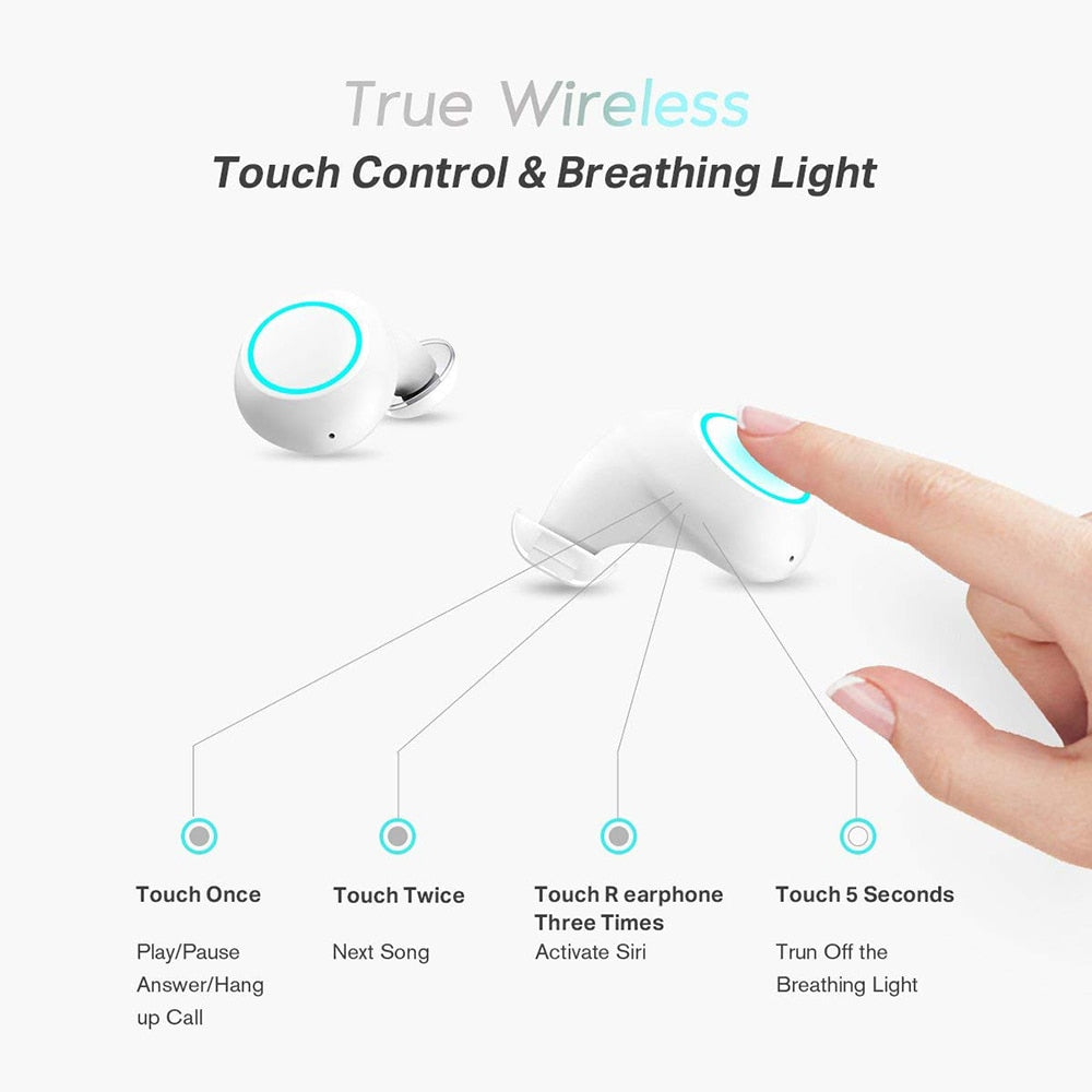 True wireless earbuds touch control