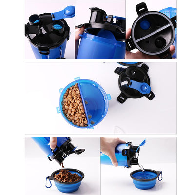 2-in-1 Dog Travel Bottle, Pet Feeder And Water Bowl
