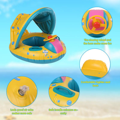 Inflatable Baby Swimming Ring With Adjustable Sunshade
