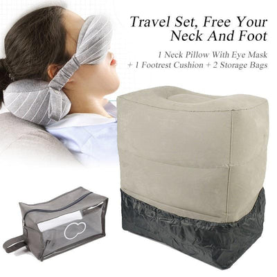 Travel Neck Pillow & Eye Mask With Inflatable Footrest