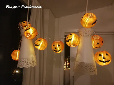 Set of 10 LED 3D Halloween Pumpkin Jack-O-Lanterns