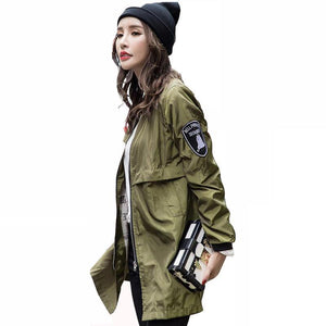 Baseball Army Green Casual Women Bomber Jacket(free shipping to USA)