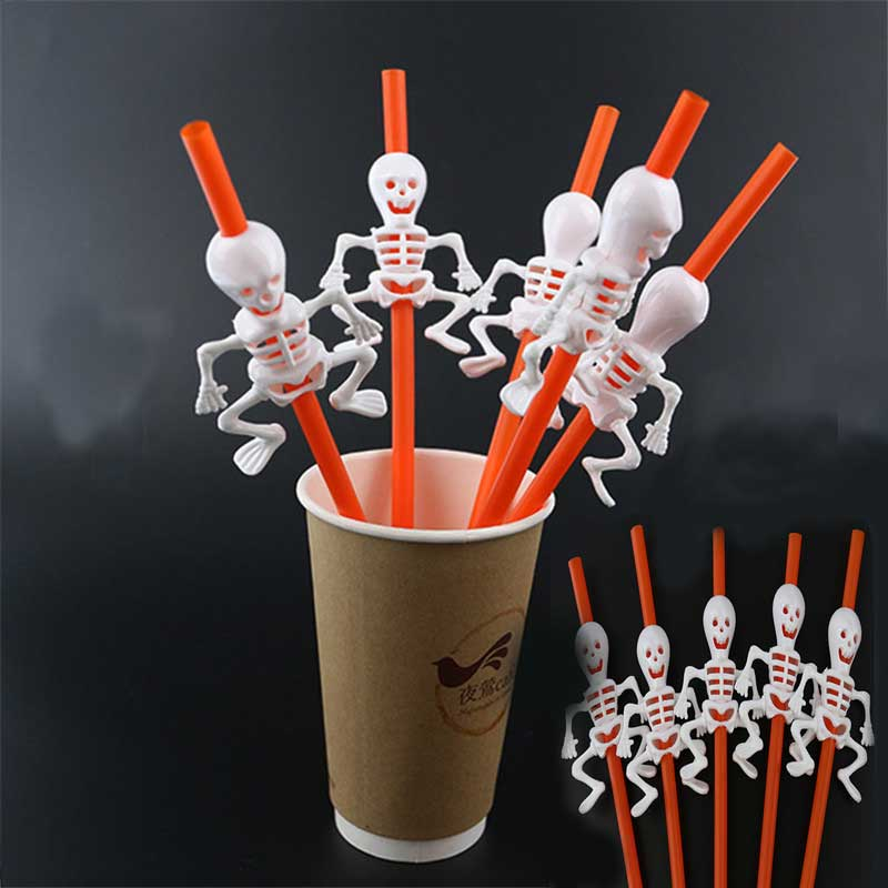 20pcs Halloween Cartoon Skull/Pumpkin Drinking Straws