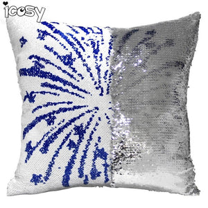 Skull Head Printed Reversible Sequin Cushion