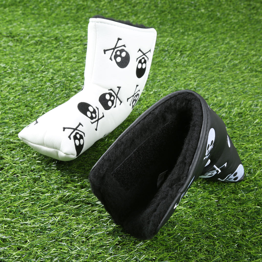 PU Leather Skull Pattern Headcover Golf Putter Cover