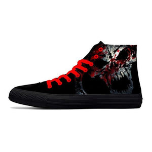 Canvas Casual Black High Top Skull  Shoes