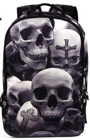 Polyester School 3D Skull Printed Backpack