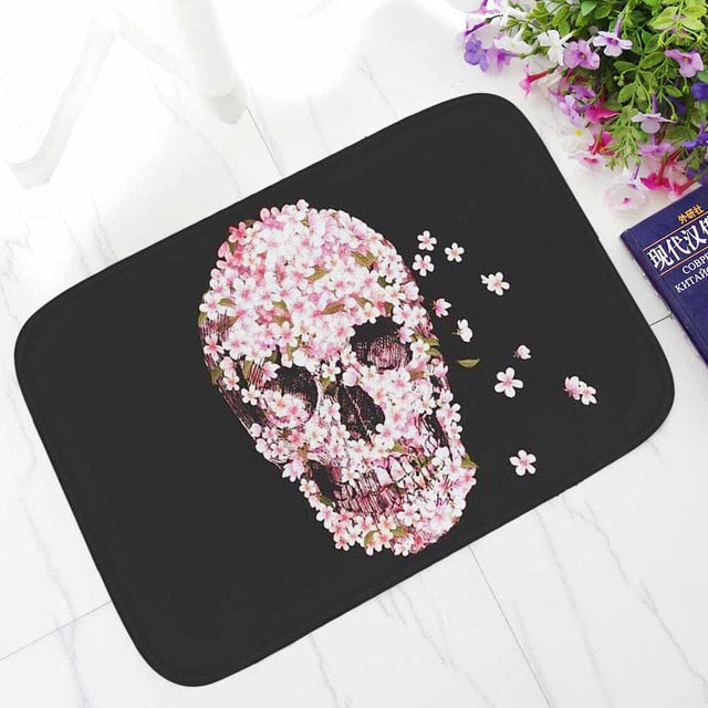 Printed Corridor Mats Punk Skull Anti-slip Carpet
