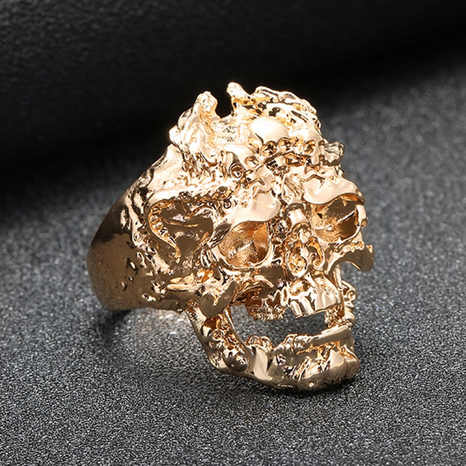 Gold Silver Black  Skull Biker Ring