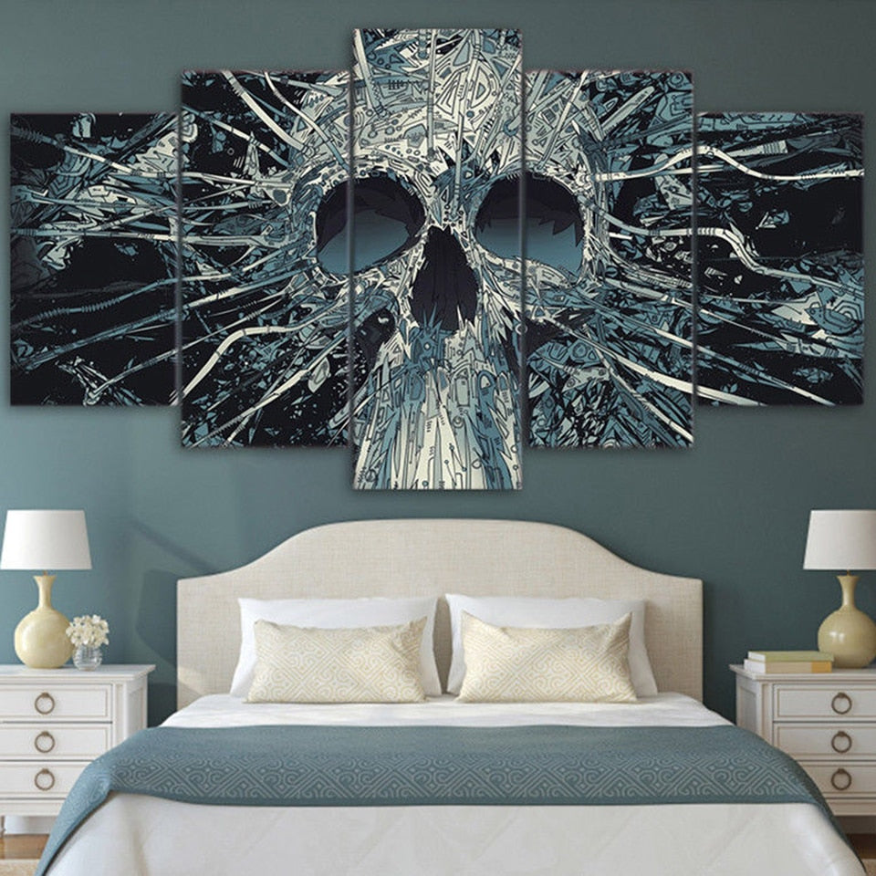 Modern Home Wall Decor Art HD Print Painting 5 Pieces Scary Skull Mask