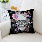Skull Pink Roses Flowers Cushion