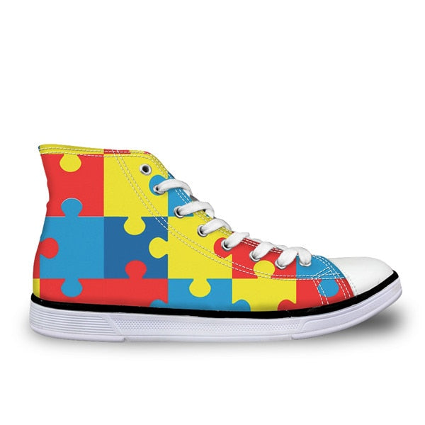 Skull Dogs Funny  High Top Canvas Women's  Shoes